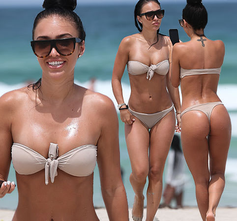 Johnny Manziel's Fiancée Bre Tiesi in Miami in Strapless Nude Bikini