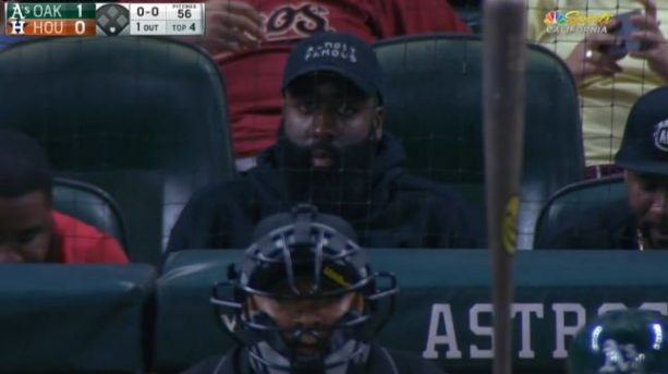 James Harden and His Beard Directly Behind Home Plate