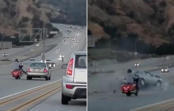 Angry Biker Kicks Car Causing Chaos on Highway