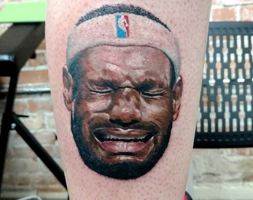 Michael Jordan Fan Gets A Crying LeBron Tattooed On His Calf