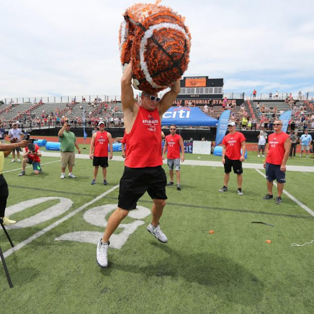Gronk Annihilates a 4 Foot Tall Football Piñata