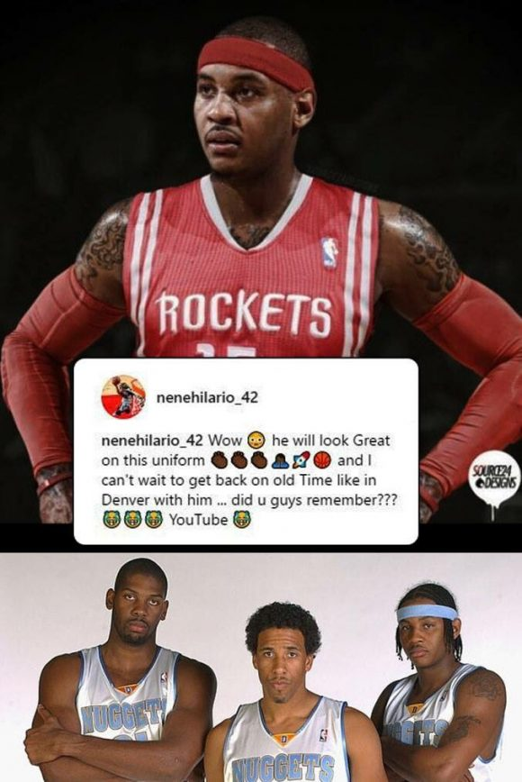 Nene Posts Photoshopped Picture of Carmelo Anthony In Rockets Jersey