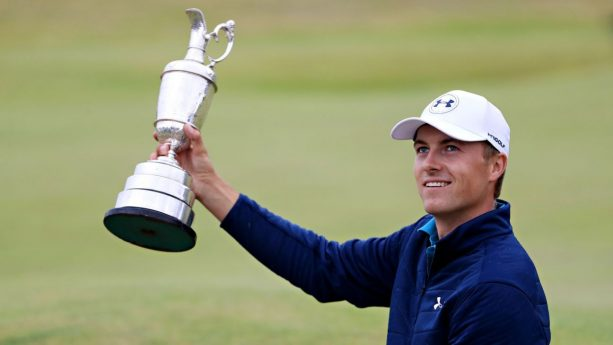 Jordan Spieth Dranking out of the Claret Jug