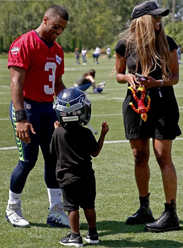 Russell Wilson's Wife and Stepson Pay a Visit to Training Camp