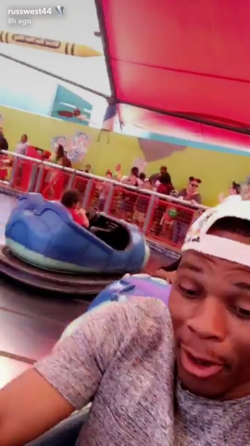 Russell Westbrook is a Beast at Bumper Cars as Well