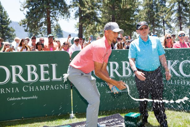 Steph Curry Still Poppin Bottles After NBA Title at Korbel Celebrity Spray-Off