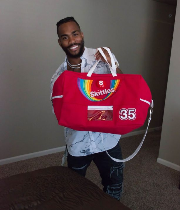 Skittles Gifts Chiefs Charcandrick West with Candy-Dispensing Luggage