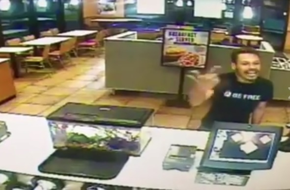 Guy Destroys Taco Bell Counter Because He's a Psycho