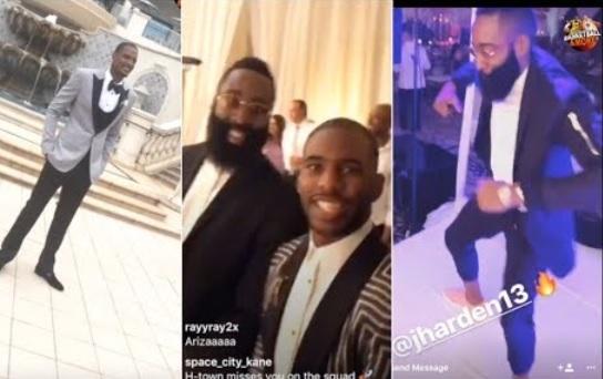 Chris Paul & James Harden having fun at Trevor Ariza's Wedding
