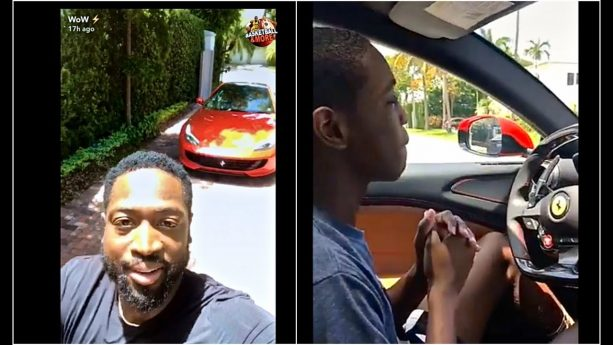 Dwyane Wade Lets his 15-year-old Son Zaire Drive his Ferrari