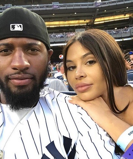 Paul George & Pregnant BM Spotted at Yanks Game