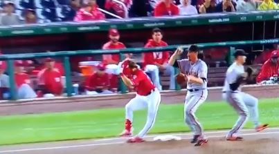 Bryce Harper Suffered A Knee Injury After Slipping Off Of First Base