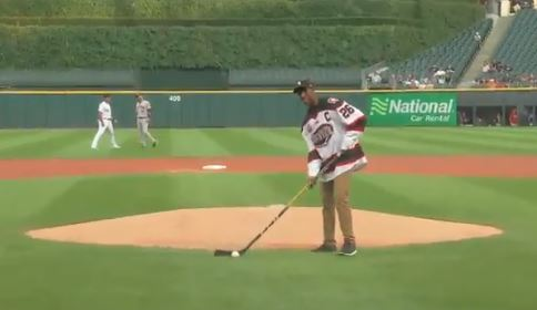 Hockey Player Used A Hockey Stick To Throw Out The First Pitch At A White Sox Game