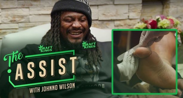 Marshawn Lynch Gets Pedicure, Drinks Champagne in New Video