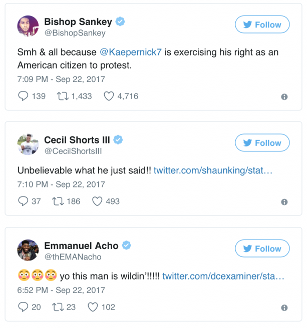 "NFL Players React To Donald Trump's ""Anthem Kneelers"" Speech"