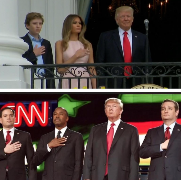 Trump Doesn't Put His Hand On Heart For National Anthem