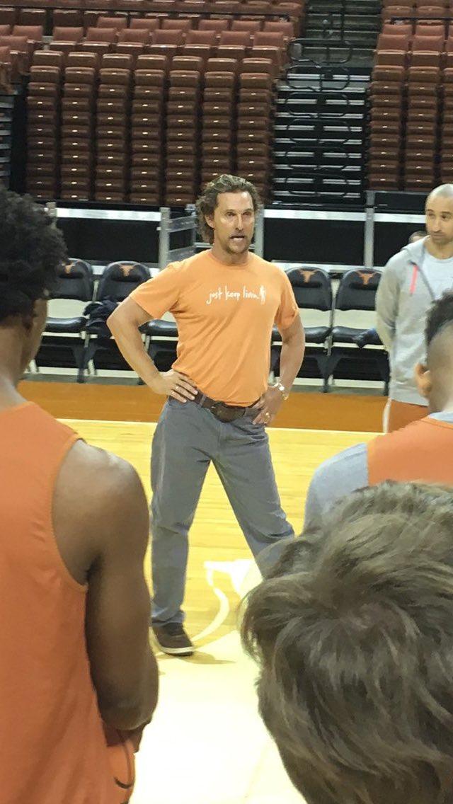 Matthew McConaughey Posing as a Coach for Texas Basketball