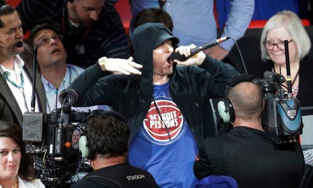Eminem Was a Hype Man at Pistons' home Opener at New Arena