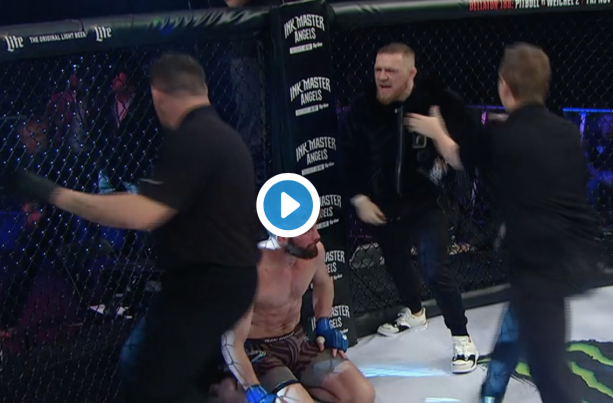 Conor McGregor Storms The Octagon During Bellator 187