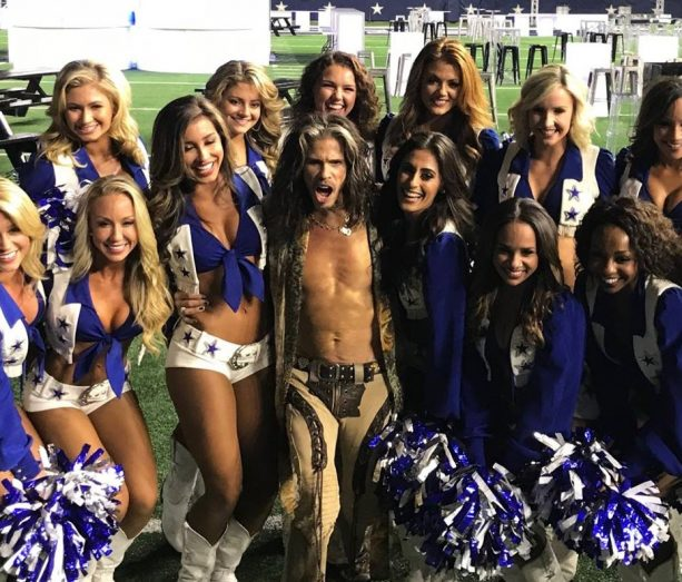 Steven Tyler Getting Close to the Dallas Cowboys Cheerleaders