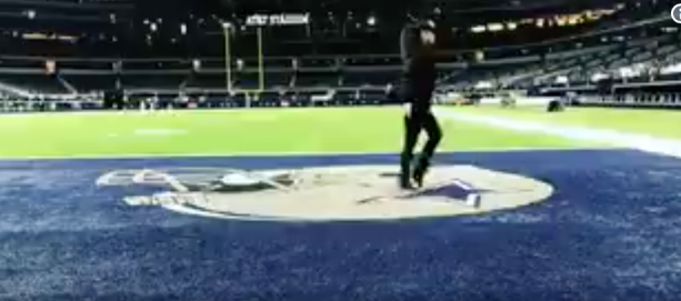 Russell Wilson's Wife Moonwalks On Cowboys End Zone Logo