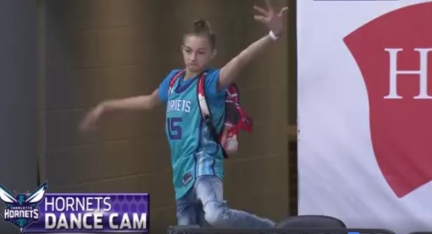Backpack Kid Crushing it With the Same One Move at Hornets Game