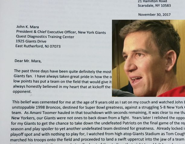 New York Giants Fan Writes Heartfelt Letter to Giants Owner After Eli Benching