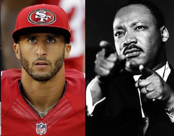 Martin Luther King Jr. kneeling with Colin Kaepernick