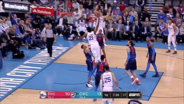Joel Embiid DUNKS ON RUSSELL WESTBROOK AND STARES HIM DOWN!
