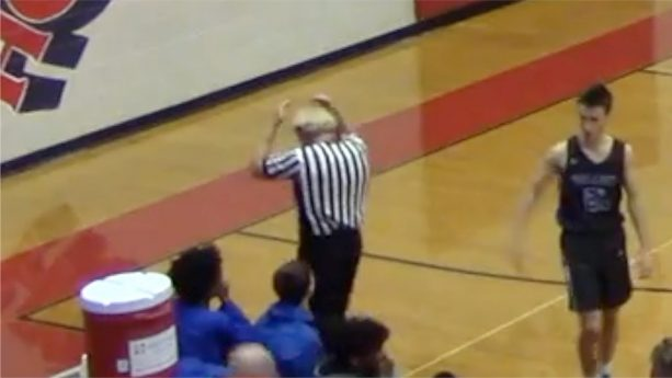 High School Basketball Ref Gets Toupee Knocked Off