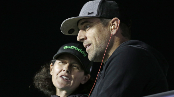 Aaron Rodgers is now Sponsored by Go Daddy