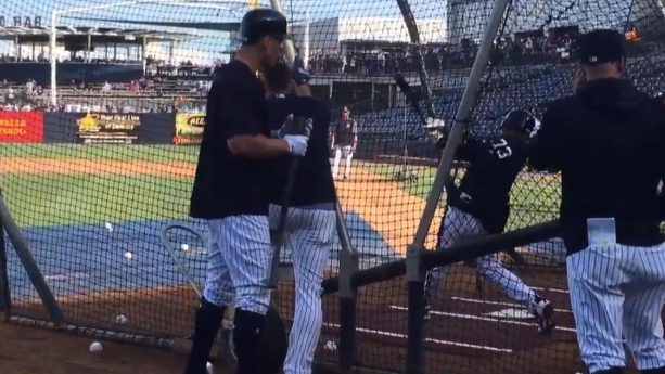 Russell Wilson Takes Batting Practice With The Yankees