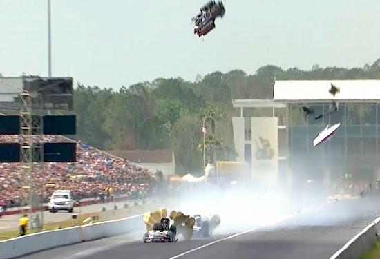 Straight Craziness In Funny Car Drag Race As BOTH Cars Blow Their Tops Off