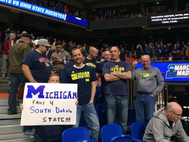 March Madness As Michigan Fans Were Posted Up Behind Ohio State's Bench