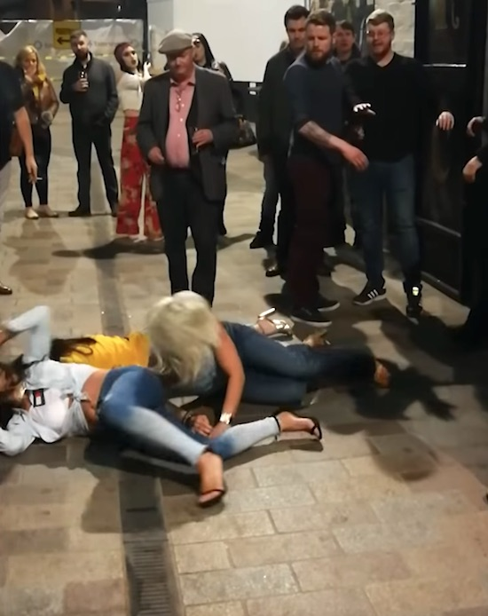 Bouncer Pushes Women During Altercation Outside Belfast Pub