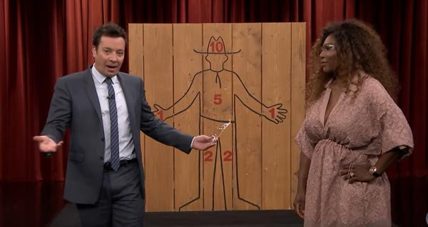 Jimmy Fallon Challenges Serena Williams To An Axe-Throwing Competition