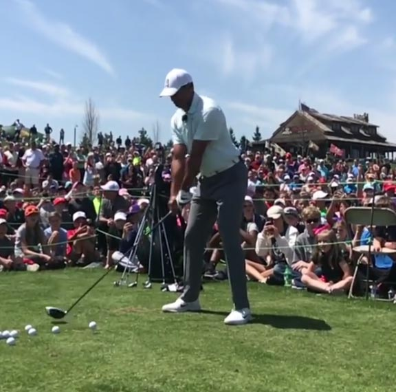 Watch Tiger Woods Shank A Drive To Entertain Kids