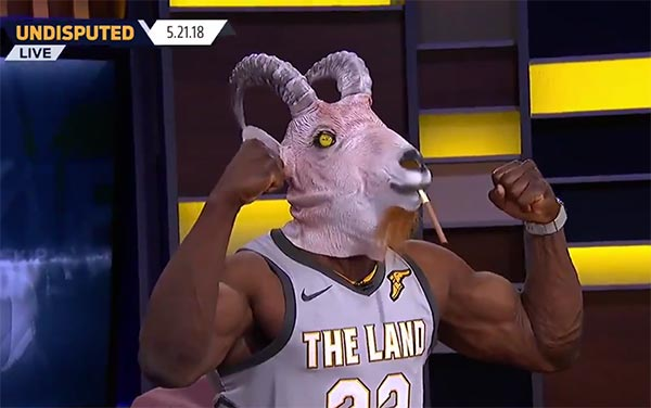 Shannon Sharpe Wears Goat Mask And LeBron Jersey To Troll Skip Bayless