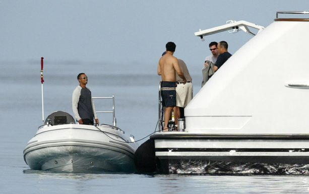 Tiger Woods Posting His Yacht Up In The Hamptons For The US Open
