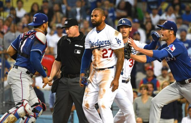 Benches Clear Between Dodgers and Rangers