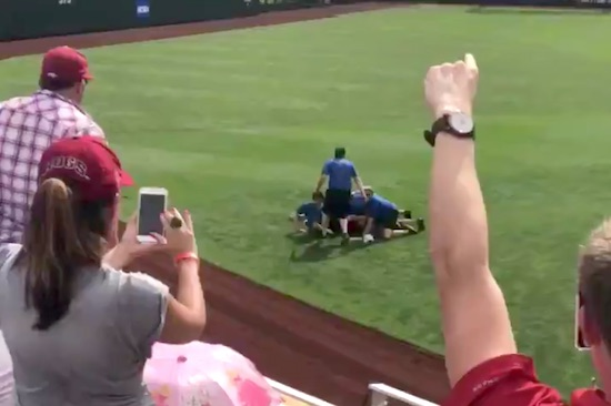 Arkansas Fan Gets Smoked By Security