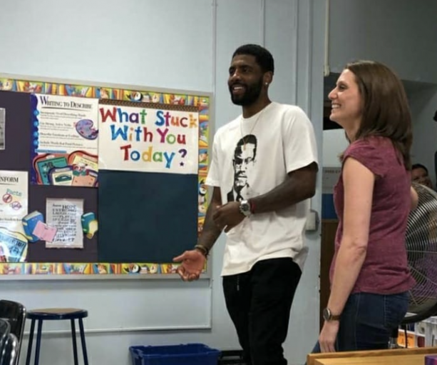Kyrie Irving Visits His Old Middle School