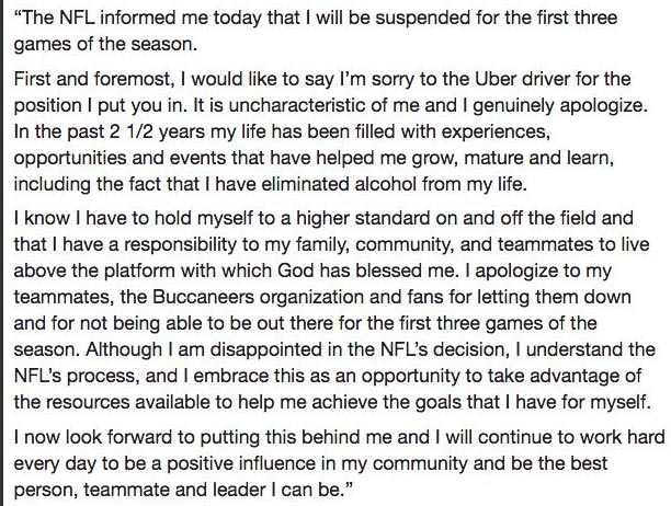 Jameis Winston Admits & Apologizes For Sexual Assault On Uber Driver – Blames Alcohol