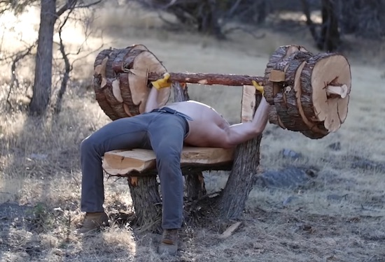 This DudeBuilt A Bench Press From A Tree