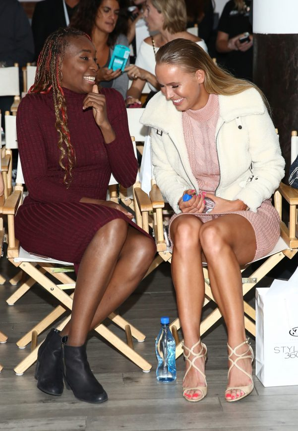 NEW YORK, NY - SEPTEMBER 12: Venus Williams (L) and Caroline Wozniacki attend the Serena Williams Signature Statement Collection By HSN during Style360 Fashion Week at Metropolitan West on September 12, 2016 in New York City. (Photo by Monica Schipper/Getty Images) ORG XMIT: 665912185 ORIG FILE ID: 603555574