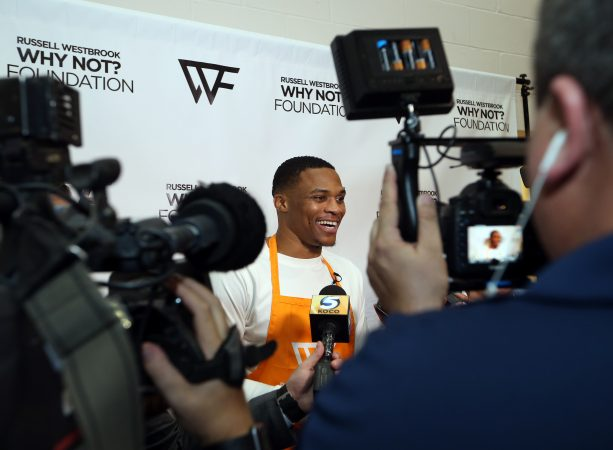OKLAHOMA CITY, OK - NOVEMBER 15: NBA All-Star and Oklahoma City Thunder point guard, Russell Westbrook and hosts his 5th Annual Thanksgiving Dinner on November 15, 2016 at the Boys and Girls Club in Oklahoma City, Oklahoma. Westbrook and his Russell Westbrook Why Not? Foundation served over 950 meals. NOTE TO USER: User expressly acknowledges and agrees that, by downloading and or using this Photograph, user is consenting to the terms and conditions of the Getty Images License Agreement. Mandatory Copyright Notice: Copyright 2016 NBAE (Photo by Layne Murdoch/NBAE via Getty Images)