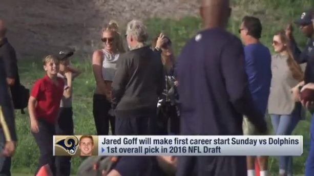 Britney Spears at Jared Goff's first practice as starter