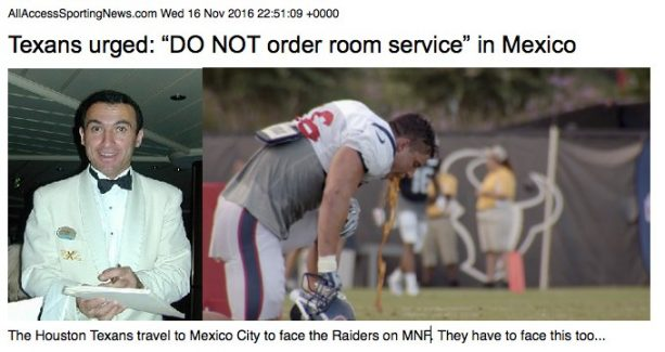 Texans warned to stay in hotel, not order room service in Mexico