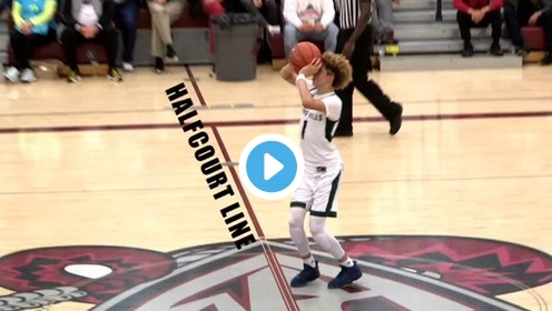 High School Kid Shoots Half Court Shot Because of Steph Curry