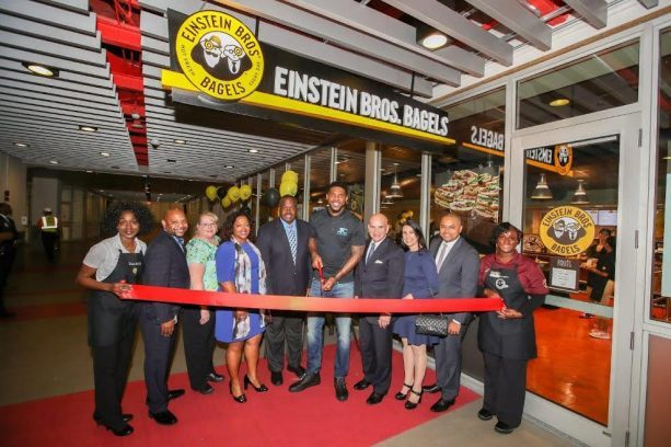 Coach Spo Joins Udonis Haslem at his Einstein Bagels